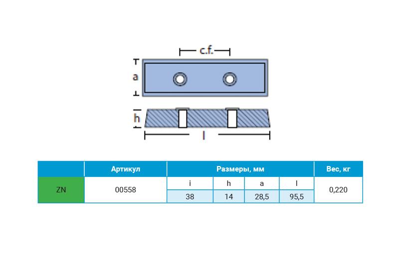 Анод цинковый для транцевых плит BENNETT