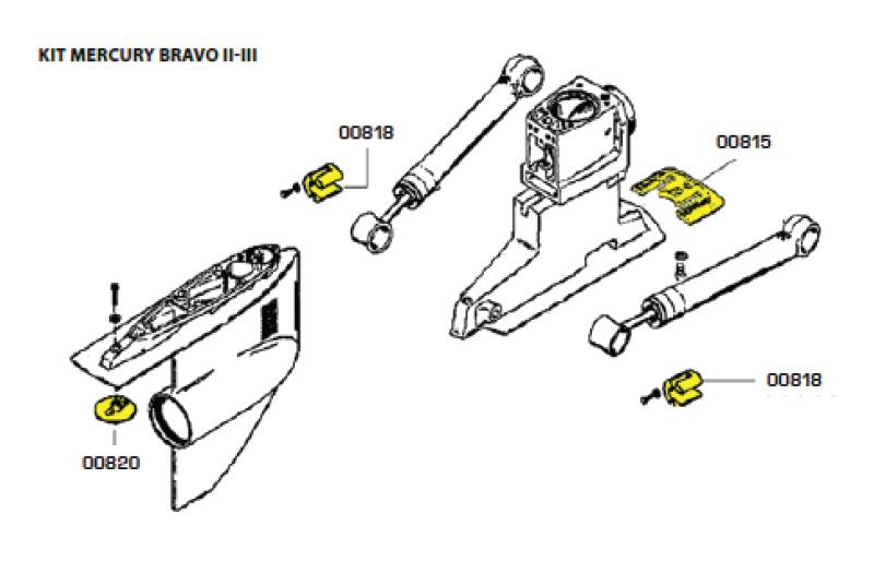 Комплект алюминиевых анодов BRAVO TWO (1989-Н.В.) и BRAVO THREE (1989-2003)