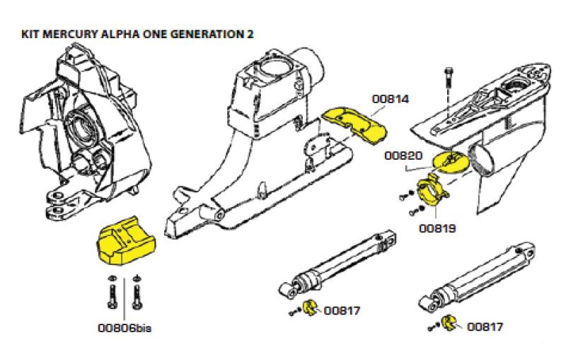 Комплект магниевых анодов ALPHA ONE Gen. 2 (1991-Н.В.)