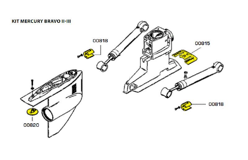 Комплект магниевых анодов BRAVO TWO (1989-Н.В.) и BRAVO THREE (1989-2003)