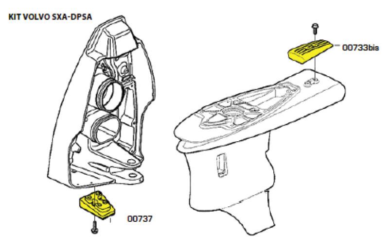 Комплект магниевых анодов для Volvo Penta SX