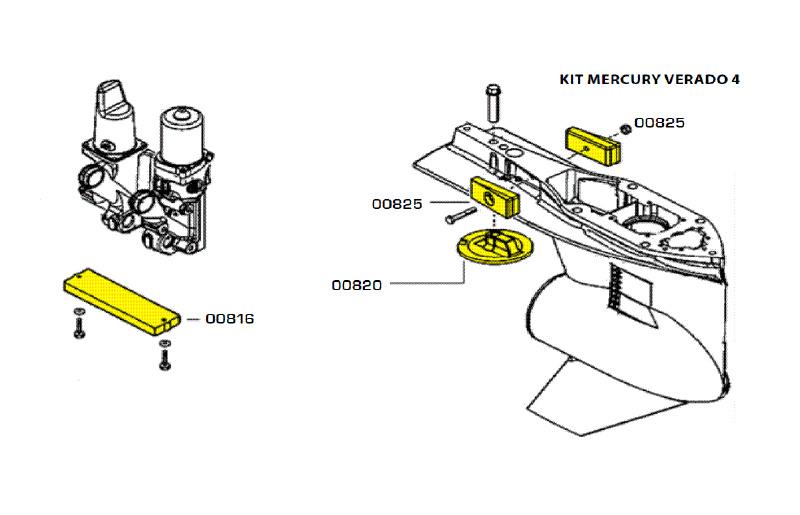 Комплект магниевых анодов Mercury Verado (4 цил.)