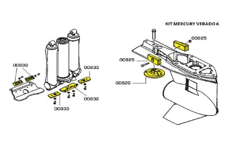 Комплект магниевых анодов Mercury Verado (6 цил.)